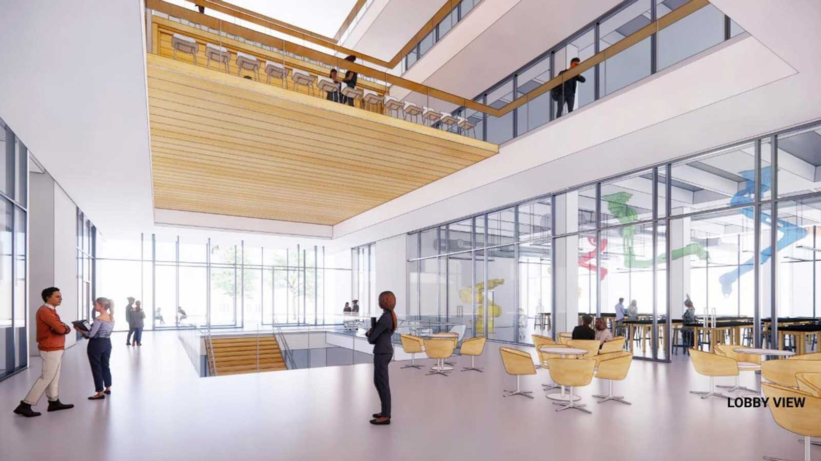 A preliminary rendering shows a concept for the lobby of the new science and engineering building on the site of the Abercrombie Engineering Laboratory, which will be demolished soon. Courtesy of SOM