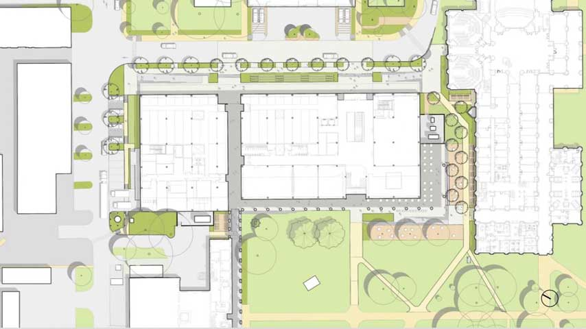 An early site plan shows how a new science and engineering building will be situated in the space currently occupied by the Abercrombie Engineering Laboratory. Courtesy of SOM